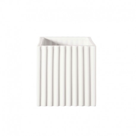 Planter with Grooves 15Cm - Quadro White - Asa Selection ASA SELECTION ASA46126005
