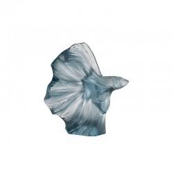Escultura de Cristal Pez Azul - Fighting Fish Azul Persépolis - Lalique