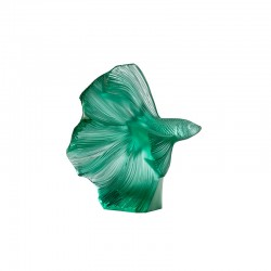 Crystal Sculpture Fish Green - Fighting Fish - Lalique