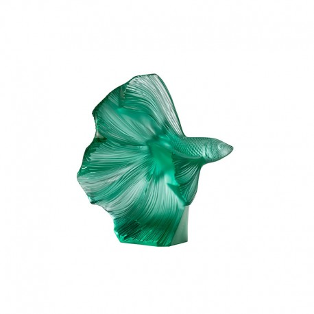 Crystal Sculpture Fish Green - Fighting Fish - Lalique LALIQUE LQ10672600
