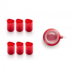 Set of 6 Cookie Glass and Decomax Red - Lekue