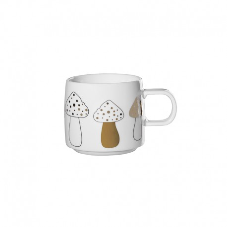 Christmas Mug - Muga Mushroom I White, Black And Gold - Asa Selection ASA SELECTION ASA29092690