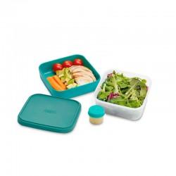 3 em 1 Caixa para Saladas Turquesa - GoEat Compact - Joseph Joseph