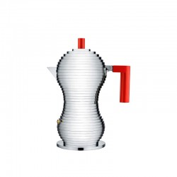 Espresso Coffee Maker Induction 3 Cups - Pulcina Grey And Red - Alessi ALESSI ALESMDL02/3RFM