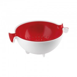 Colander and Bowl Set Red - Spin&Drain - Guzzini