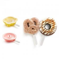 Conjunto de Moldes para Gelado Donut&Pretzel (4Un) - Lekue