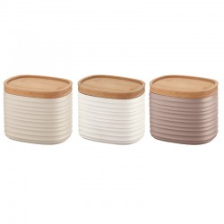 Set of 3 Small Jars - Tierra Clay, White And Taupe - Guzzini