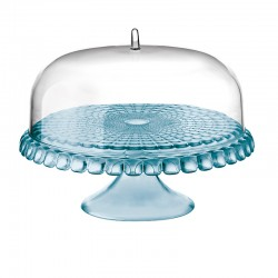 Cake Stand With Dome Blue Ø36cm - Tiffany - Guzzini