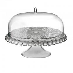 Prato para Bolo com Pé e Campânula Cinza Ø36cm - Tiffany - Guzzini