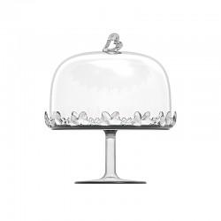 Prato de Bolo com Pé e Campânula Transparente - Love - Guzzini