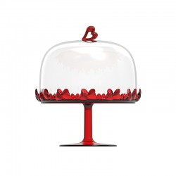 Cake Stand with Dome Red - Love - Guzzini