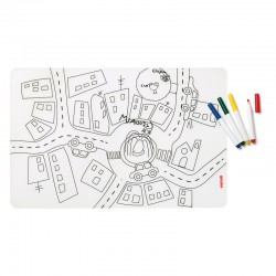 Set of Reusable Mats with 4 Felt-Tip Pens Traffic - Bimbi Assorted - Guzzini