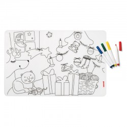 Set of Reusable Mats with 4 Felt-Tip Pens Christmas - Bimbi Assorted - Guzzini