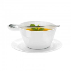 Soup Cup With Saucer And Spoon - Multicup White - Asa Selection