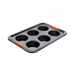 6 Cup Fluted Tart Tin Tray Black - Le Creuset