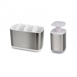 Set Toothbrush Holder and Soap Dispenser - Easystore Steel - Joseph Joseph