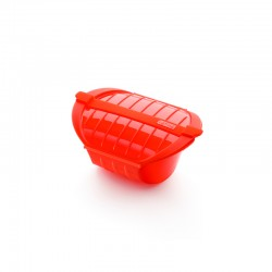 Deep Steam Case With Tray 1-2p. Red - Lekue