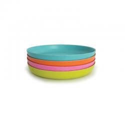 Set 4 Medium Plate - Bambino Lime, Rose, Persimmon And Lagoon - Ekobo