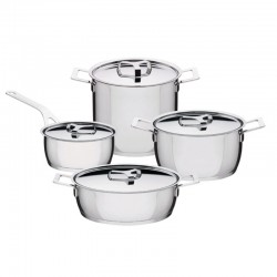Set Of 7 Pieces - Pot And Pans Silver - A Di Alessi A DI ALESSI AALEAJM100S7