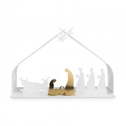 Pesebre de Navidad - Bark Crib Blanco Y Dorado - Alessi