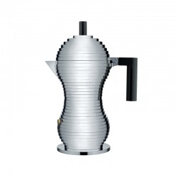 Espresso Coffee Maker 300ml - Pulcina Grey And Black - Alessi