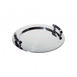 Oval Tray With Handles Inox And Black - Alessi