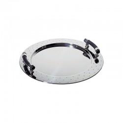 Tabuleiro Oval com Pegas ø48cm Inox E Preto - Alessi