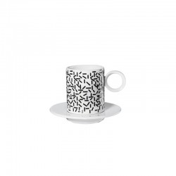 Set 2 Espresso Cups 'Strokes' - Memphis Black And White - Asa Selection
