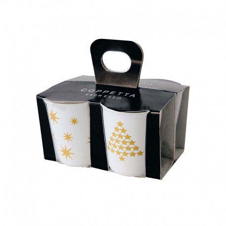 Set o f 4 Christmas Cups - Coppetta Special Edition Black And Gold - Asa Selection ASA SELECTION ASA44300425