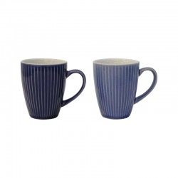 Set Of 2 Mugs - Linea Light And Dark Blue - Asa Selection