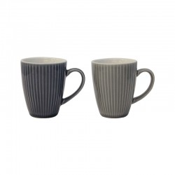 Set Of 2 Mugs - Linea Light And Dark Grey - Asa Selection