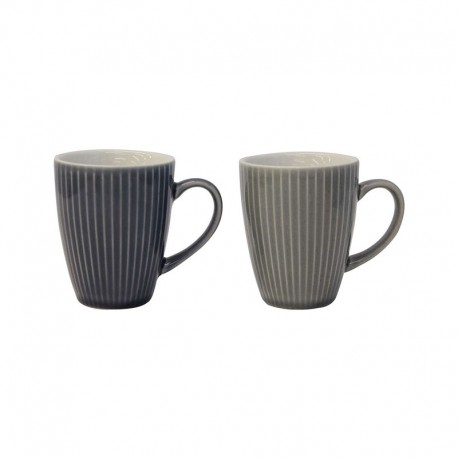 Set Of 2 Mugs - Linea Light And Dark Grey - Asa Selection ASA SELECTION ASA90603071