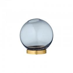 Jarra Com Suporte Ø10Cm - Globe Azul-marinho E Dourado - Aytm