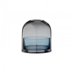Lanterna Para Vela Tealight Ø10Cm - Tota Preto E Azul Marinho - Aytm