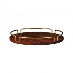 Tray Ø36Cm - Vitta Brown And Gold - Aytm