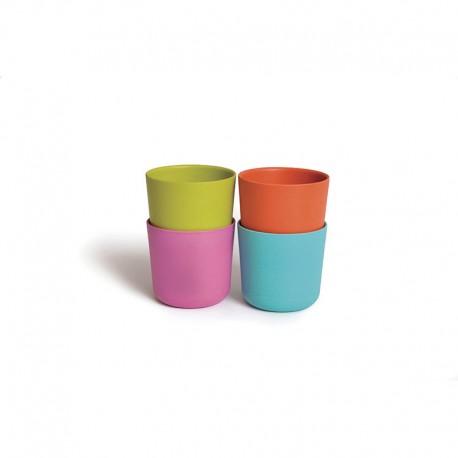 Conjunto 4 Vasos Pequeños - Bambino Lima, Rosa, Naranja Y Turquesa - Ekobo  Conjunto 4 Vasos Pequeños - Bambino Lima, Rosa, N...