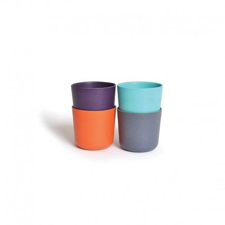 Conjunto 4 Vasos Pequeños - Bambino Turquesa, Naranja, Ciruela Y Gris - Ekobo  Conjunto 4 Vasos Pequeños - Bambino Turquesa, ...