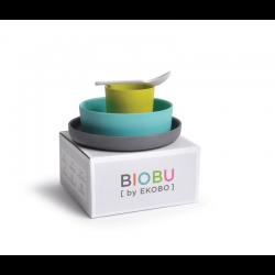 Kid'S Set - Bambino Grey (plate), Lagoon (bowl), Lime (cup), White (spoon) - Biobu