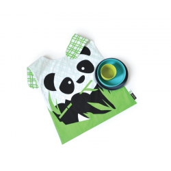 Kid´S Panda Set - Bambino Grey (plate), Lagoon (bowl), Lime (cup) - Biobu