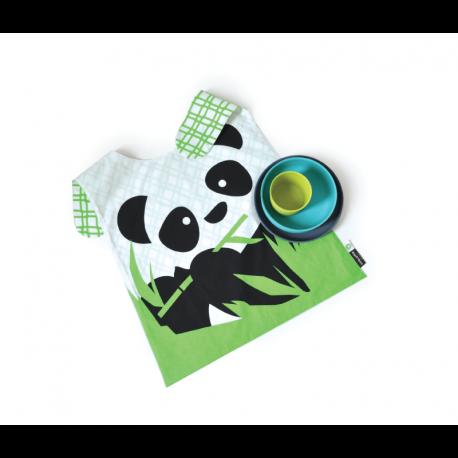 Conjunto Panda Niño - Bambino Gris (plato), Turquesa (vasija) Y Lima (taza) - Ekobo |Conjunto Panda Niño - Bambino Gris (plat...