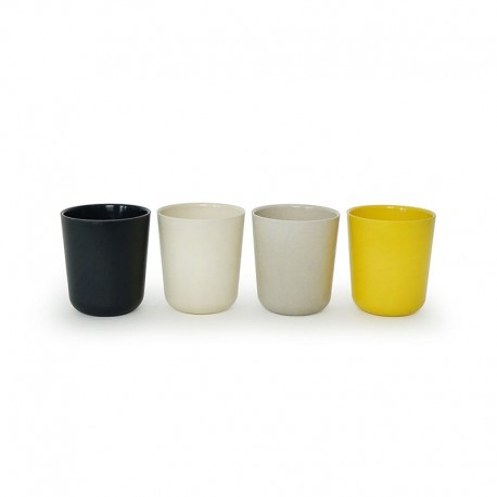 Medium Cup Set - Gusto White, Stone, Lemon And Black - Ekobo BIOBU EKB34680