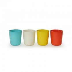Medium Cup Set - Gusto Persimmon, White, Lagoon And Lemon - Biobu