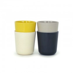 Large Cups Set - Gusto White, Stone, Lemon And Black - Biobu