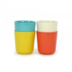 Large Cups Set - Gusto Persimmon, White, Lagoon And Lemon - Biobu