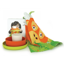 Kid'S Organgutan Set - Bambino Lime (plate), Persimmon (bowl), White (cup) - Biobu