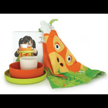 Kid'S Organgutan Set - Bambino Lime (plate), Persimmon (bowl), White (cup) - Ekobo | Kid'S Organgutan Set - Bambino Lime (pla...