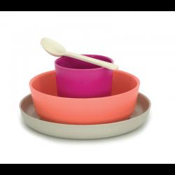 Conjunto Infantil - Bambino Cinza Claro (prato), Coral (taça), Rosa Fuschia (copo), Branco (colher) - Biobu
