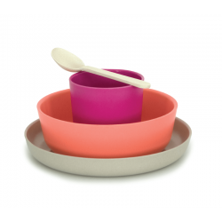 Kid'S Set - Bambino Stone (plate), Coral (bowl), Fuschia (cup), White (spoon) - Biobu