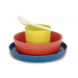 Conjunto Infantil (Set 4) Azul (prato), Vermelho (taça), Limão (copo), Branco (colher) - Biobu