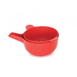 Cuenco Multiusos + Colador Rojo - Pronto - Biobu